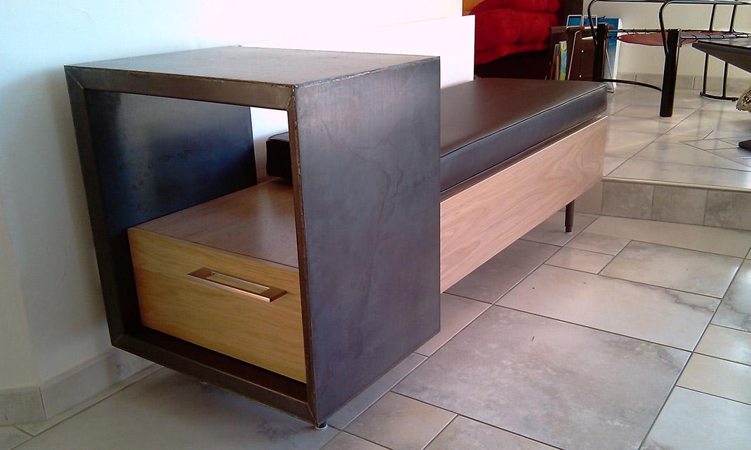 Architecture et design d'intérieur - Archidesigner Associés - Banquette / rangement bois-métal sur mesure