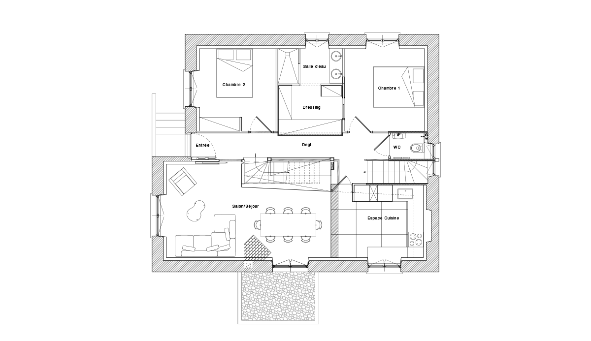 Design intérieur / aménagement d'une maison individuelle - Plan de maison ADA